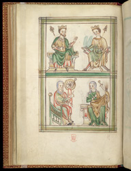 Enthroned Male And Female Saints, In A Psalter